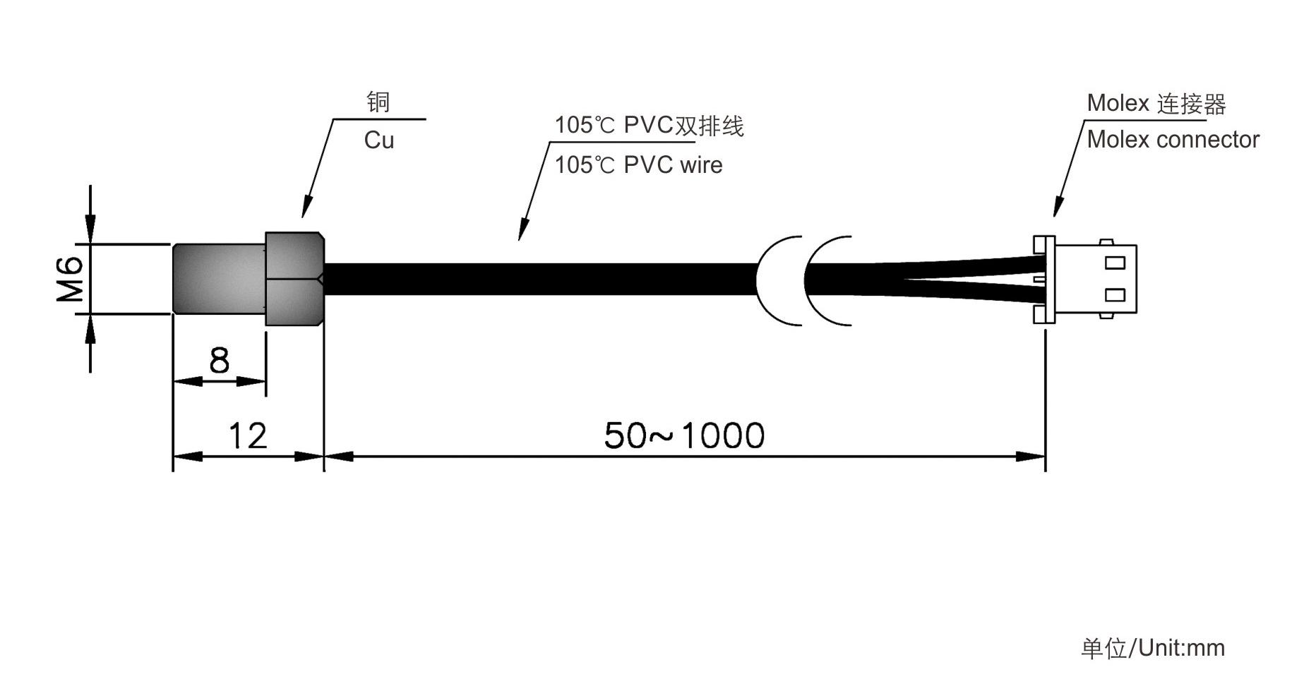 采用mf58ntc热敏电阻芯片(r25℃=10kω±2%  b25/85=3435k